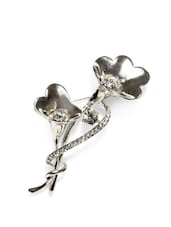 Silver Plated Flower Shaped Brooch - Golden Peacock