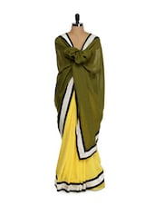 Pale Yellow And Sap Green Saree - Get Style At Home