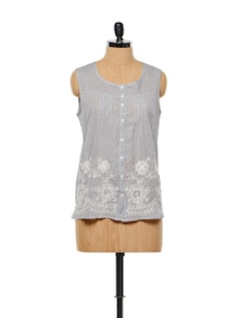 Embroidered Grey Top - Lyla
