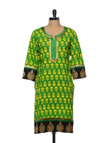 Green & Yellow Printed Kurti - Lyla