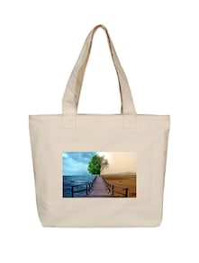 Beach And Sand Printed  Canvas Tote Bag - OXA