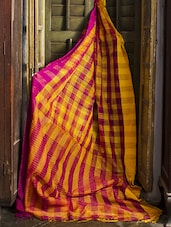 Yellow And Magenta Resham Silk Saree - Cotton Koleksi