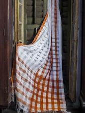 Chequered White And Brown Resham Silk Saree - Cotton Koleksi