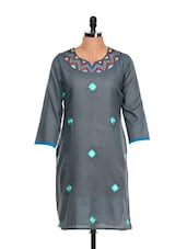 Embroidered Slate Grey Voile Kurta - Vedanta