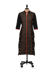 Gold Print Black Cotton Kurti - Tulsattva