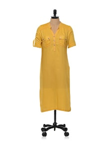 Yellow Rayon Shirt Style Kurta - Tulsattva
