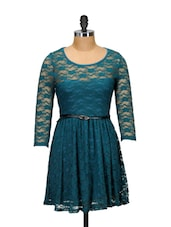 Feminine Teal Lace Dress - Ruby