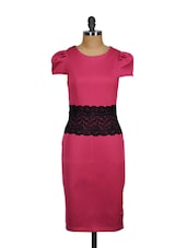 Tailored Pink Lace Accented Dress - Ruby