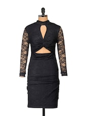 Front Knot Lace Black Dress - Ruby