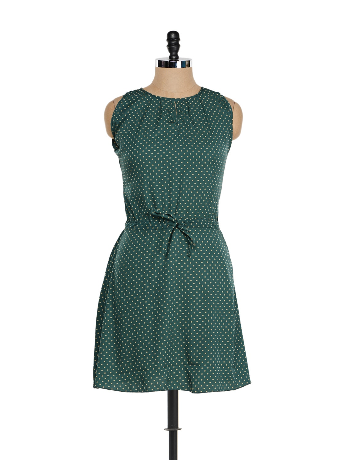 Bottle Green Polka Dotted Dress - Being Fab