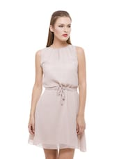 Beige Flirty Georgette Dress - Being Fab