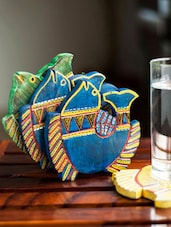 Colourful Fish Coaster Holder And Coasters (set Of 3) - ExclusiveLane