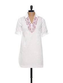 White Cotton Kurti With Thread Work - Meira