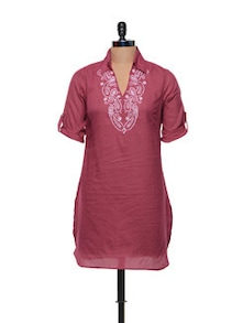 Red Cotton Kurti With Thread Work - Meira