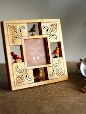 Mustard Parrot Photo Frame With Leaf Carving - ExclusiveLane