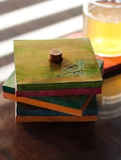 Multicolured Parrot Carving Coasters Set In Wood(set Of 6) - ExclusiveLane