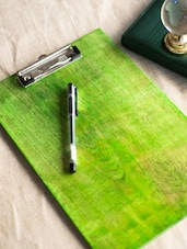 Lime Green Wooden Clip Board With Inlay Work - ExclusiveLane