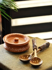 Wooden Serving Spoon Set In Natural Brown - ExclusiveLane