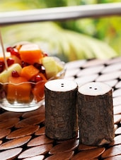 Tree Cut Wooden Salt & Pepper Shaker Set - ExclusiveLane