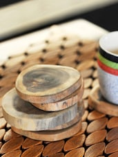 Tree Cut Wooden Coasters Set Of 6 - ExclusiveLane