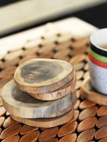 Tree Cut Wooden Coasters Set Of 6 - ExclusiveLane