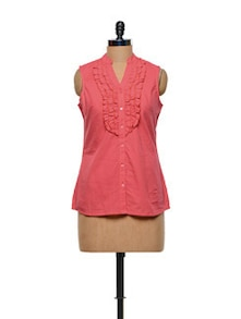 Carrot Red Cotton Top - Meira