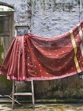Orange Cotton Silk Saree - Cotton Koleksi