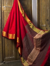 Red Matka Cotton Saree - Cotton Koleksi