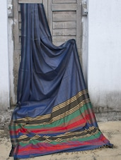 Greyish Blue Raw Jute Silk Saree With A Multi Coloured Pallu - Cotton Koleksi
