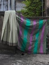 Resham Silk Saree With Striped Aanchal - Cotton Koleksi