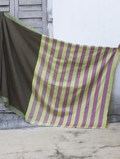Brown Resham Silk Saree With Striped Aanchal - Cotton Koleksi