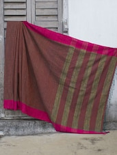 Rust Khadi-Cotton Silk Saree With Gheecha Aanchal - Cotton Koleksi