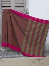 Rust Khadi-Cotton Silk Saree With Gheecha Aanchal - Cotton Koleksi