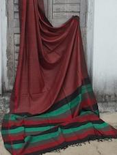 Blood Red Raw Jute Silk Saree - Cotton Koleksi