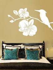 Kingfisher With Flowers Wall Deca Wall Art ( White ) - DeStudio