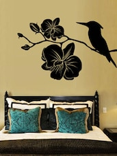 Kingfisher With Flowers Wall Deca Wall Art ( Black ) - DeStudio