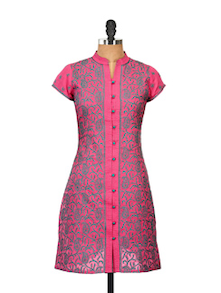 Pink Cotton Kurti  With Chikankari - Go Lucknow