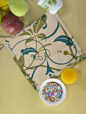 Beige Kitchen Pot Holder With Blue And Green Prints - Ambbi Collections