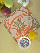 Beige Kitchen Pot Holder With Green And Orange  Prints - Ambbi Collections
