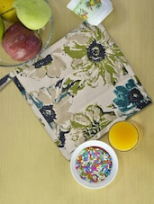 Beige Kitchen Pot Holder With Green And Blue Floral Prints - Ambbi Collections