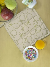 Beige And Greewn Fruit Print Kitchen Pot Holder - Ambbi Collections