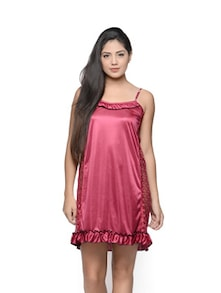 Ruffle And Lace Trimmed Pink Nighty - Klamotten