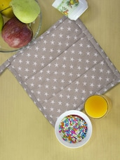 Grey Quilted Cotton Kitchen Pot Holder With White Star Prints - Ambbi Collections