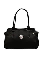 Black Leatherette Handbag - FOSTELO