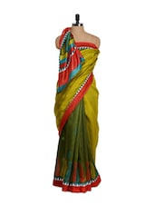 Olive Green Bhagalpuri Art Silk Saree - Purple Oyster