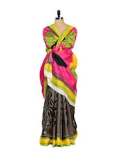 Bhagalpuri Silk Saree-Pink & Yellow - Purple Oyster
