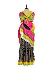 Bhagalpuri Silk Saree-Pink & Yellow - Purple Oyster