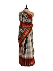 Bhagalpuri Art Silk Check Print Saree - Purple Oyster