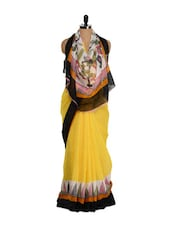 Yellow Printed Art Silk Saree - Purple Oyster