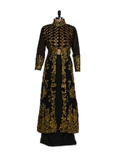 Black And Golden Embroidered Suit With Jacket - Purple Oyster